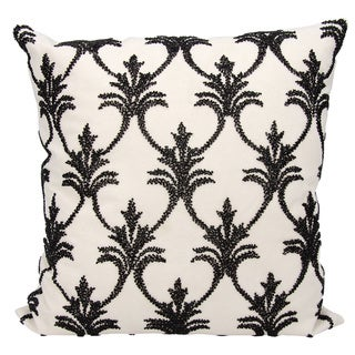 Mina Victory Luminescence Fleur De Lis' Black Throw Pillow by Nourison (18-Inch X 18-Inch)