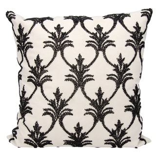 Mina Victory Luminescence Fleur De Lis' Black Throw Pillow by Nourison (18-Inch X 18-Inch)