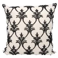 Mina Victory Luminescence Fleur De Lis' Black Throw Pillow by Nourison (18 x 18-inch)