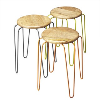 Handmade Butler Easton Wood and Iron Stackable Stools (India)
