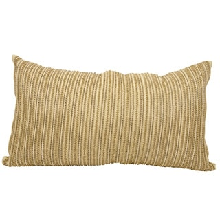 Mina Victory Luminescence Thin Beaded Stripes Gold Throw Pillow by Nourison (14 x 24-inch)