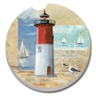 Counterart Absorbent Stone Car Coaster Race Point Lighthouse (Set of 2)