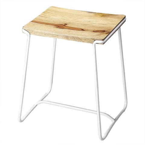 Handmade Butler Parrish Wood and Metal Stool (India)