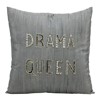Mina Victory Luminescence Drama Queen Silver/Grey Throw Pillow by Nourison (18 x 18-inch)