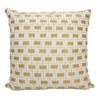 Mina Victory Luminescence Beaded Buckles White Throw Pillow by Nourison (18-Inch X 18-Inch)