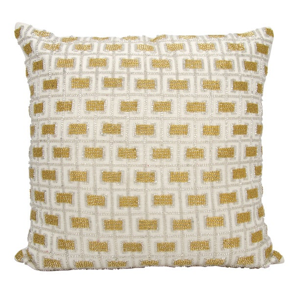 Mina Victory Luminescence Beaded Buckles White Throw Pillow by Nourison (18 x 18-inch)