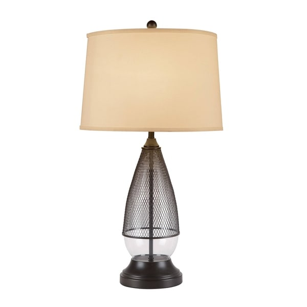 Catalina Thomas 19957-001 3-Way 30-Inch Clear Glass and Bronze Metal Table Lamp w Cream Linen Mod Drum Shade, Bulb Included