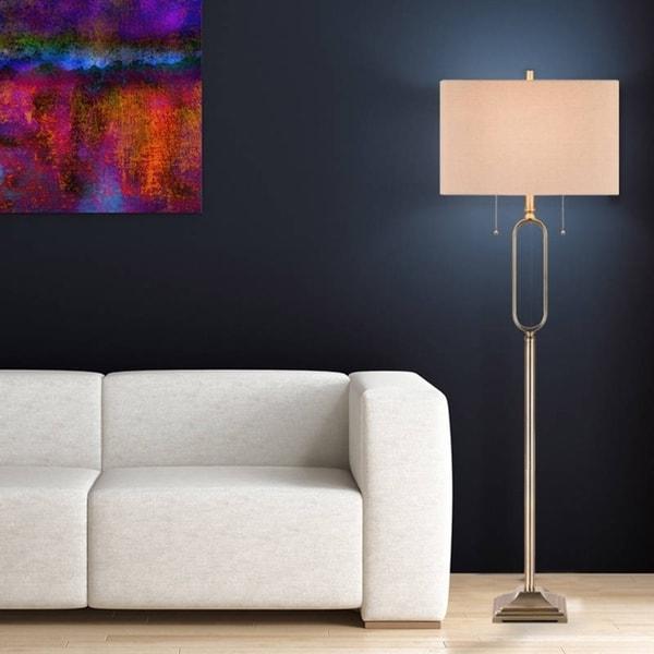 Catalina 19922-001 Antique Brass 62-inch 2-light Floor Lamp With Linen Round Edge Rectangular Shade