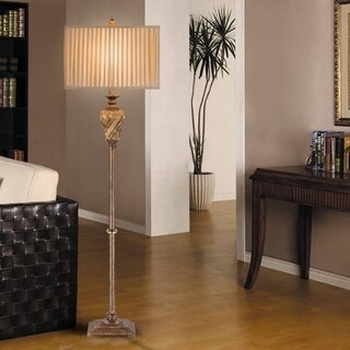 Catalina Paulina 19924-001 3-Way 63-Inch Antique Gold Leaf Metal Floor Lamp with Pleated Rectangular Shade, Bulb Included