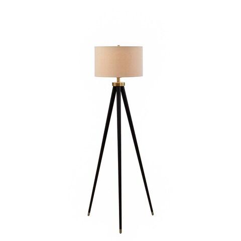 Catalina Hendrick 19936-001 3-Way 60.25-Inch Dark Bronze/ Antique Brass Metal Floor Lamp w Natural Linen Shade, Bulb Included
