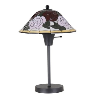 Catalina Black Metal Table Lamp with Faux-tiffany Floral Pattern Shade