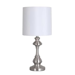 Catalina Brushed Steel 18.75-inch Table Lamp with White Shade