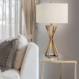 Catalina Ezra 19744-001 3-Way 31-Inch Gold Open Caged Metal Table Lamp with Natural Linen Rectangular Shade, Bulb Included