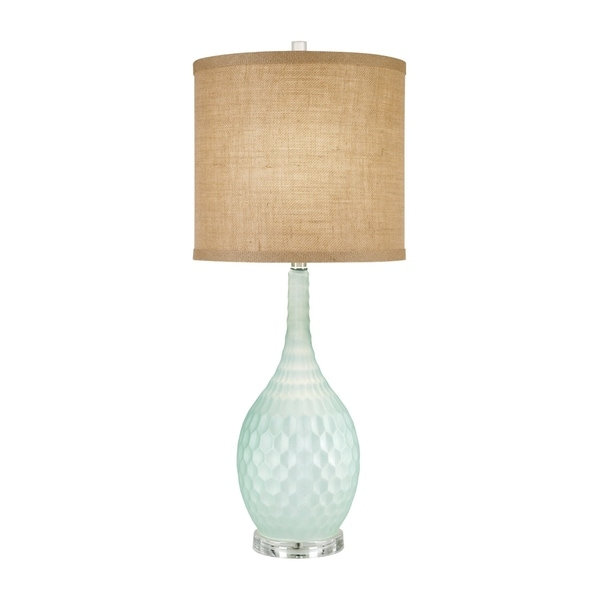 Catalina Sophia 19915-001 3-Way 32-Inch Seafoam Blue Glass Table Lamp with Burlap Drum Shade, Bulb Included