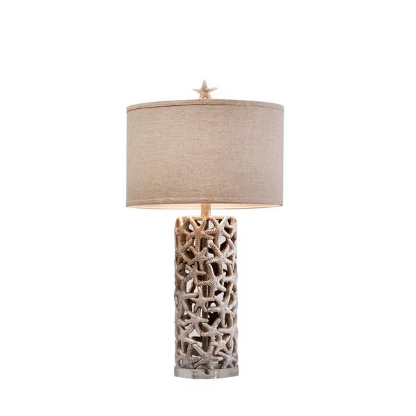 Catalina Sanibel 19916-001 3-Way 31.5-Inch Silver Starfish Table Lamp with Linen Drum Shade with Silken Liner, Bulb Included