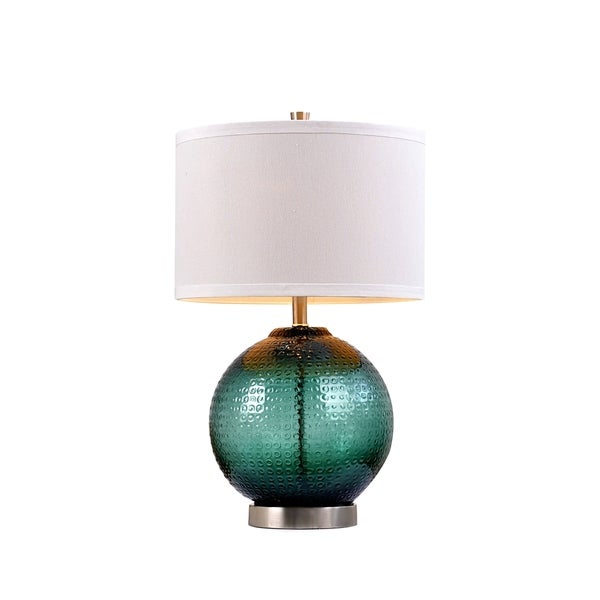 Catalina Eliza 19919-001 3-Way 26.5-Inch Jade Glass Orb Table Lamp with Linen Drum Shade with Silken Liner, Bulb Included