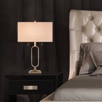 Catalina 2-light 31-inch Antique Brass Metal Table Lamp with Linen Round Edge Rectangular Shade, Bulb Included