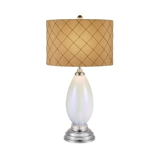 Catalina Jenny 19958-001 3-Way 30-Inch Iridescent Opal Glass Table Lamp with Silken Embroidered Drum Shade, Bulb Included
