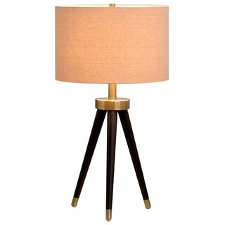 Catalina Hendrick 19935-001 3-Way 25.5-Inch Dark Bronze Antique Brass Metal Tripod Table Lamp w Linen Shade, Bulb Included
