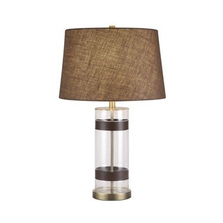 Catalina Maxwell 19960-000 3-Way 29-inch Cylinder Clear Glass and Faux Leather Table Lamp w Textured Drum Shade, Bulb Included