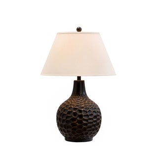 Catalina Tristen 19963-001 3-Way 30-inch Textured Oil Rubbed Bronze Table Lamp with White Linen Empire Shade, Bulb Included