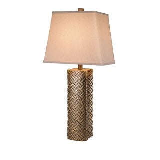 Catalina Robin 19964-001 3-Way 30-inch Embossed Antique Gold Table Lamp with Cream Textured Linen Shade, Bulb Included