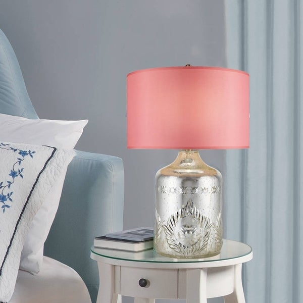 Catalina Leslie 19955-001 3-Way 26.25-Inch Etched Chrome Glass Table Lamp w Blush Silken Drum Shade and Liner, Bulb Included