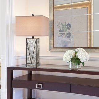 Catalina Chelsea 19930-001 3-Way 30-Inch Mercury Glass and Gunmetal Table Lamp with Natural Linen Square Shade, Bulb Included