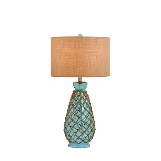 Catalina Breakers 19932-001 3-Way 31-Inch Ocean Blue Glass Table Lamp with Rope Accents and Burlap Drum Shade, Bulb Included