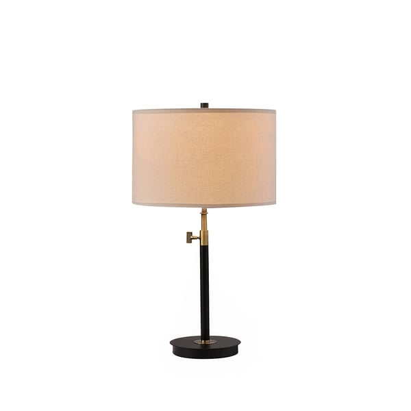 Catalina Antique Brass and Matte Black Metal Table Lamp with Linen Shade
