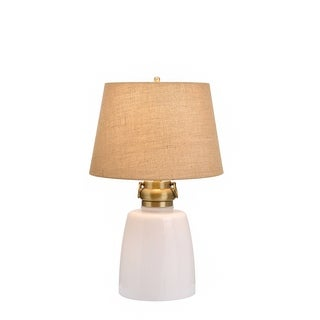 Catalina Sarasota 19929-001 4-Way 29-Inch White Milk Glass Table Lamp w Nightlight, Light Burlap Mod Drum Shade, Bulb Included