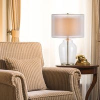 Catalina Silvia 19931-001 3-Way 26-Inch Clear Glass and Antique Brass Table Lamp with Double Drum Shade, Bulb Included