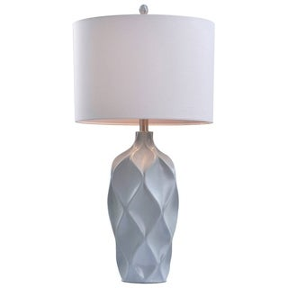 Catalina Aurora 19938-001 3-Way 31-Inch Light Grey Faceted Table Lamp with White Linen Drum Shade, Silken Liner, Bulb Included