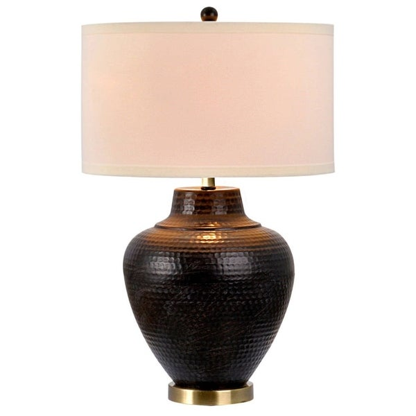 Catalina Pembroke 19954-001 3-Way 27-Inch Hammered Oil Rubbed Bronze Metal Table Lamp with Linen Drum Shade, Bulb Included