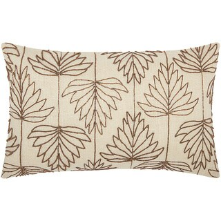 Mina Victory Luminescence Beaded Lily Leaves Copper Throw Pillow by Nourison (12 x 20-inch)