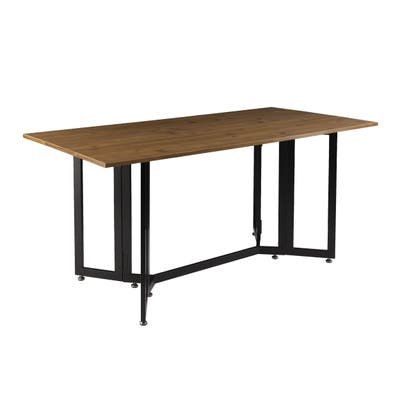 Holly & Martin Driness Weathered Oak with Black Frame Drop Leaf Table
