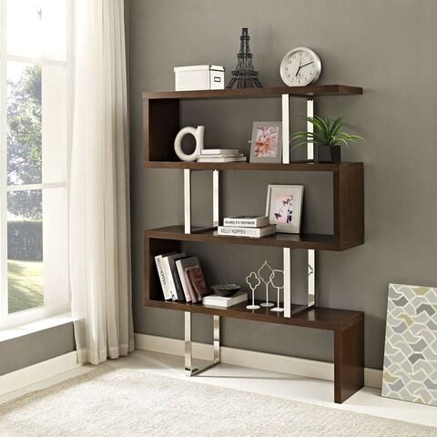 Meander Brown MDF, Stainless Steel, Veneer Bookshelf Stand