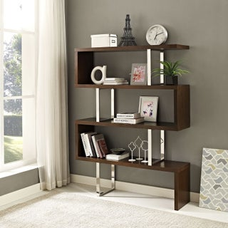 Meander Brown MDF, Stainless Steel, Veneer Bookshelf Stand (Option: Off-White - Walnut Finish)