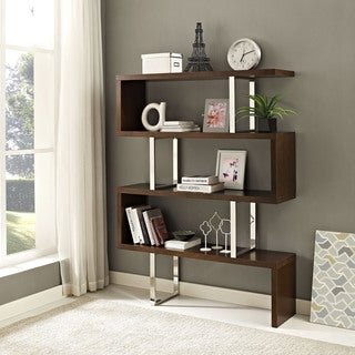 Meander Brown MDF, Stainless Steel, Veneer Bookshelf Stand