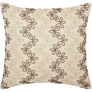 Mina Victory Luminescence Flower Stripes Copper/Gold Throw Pillow by Nourison (16-Inch X 16-Inch)