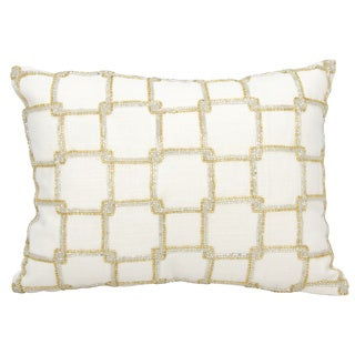 Mina Victory Luminescence Interlock Squares White Throw Pillow by Nourison (10 x 14-inch)