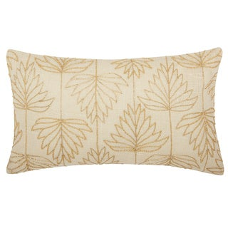 Mina Victory Luminescence Beaded Lily Leaves Gold Throw Pillow by Nourison (12 x 20-inch)