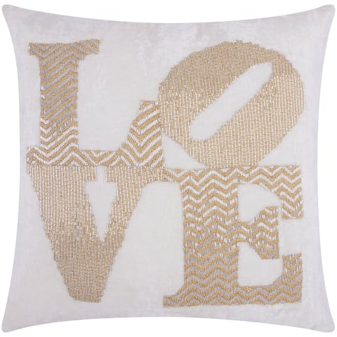 Mina Victory Luminescence Fully Beaded Love Silver/Gold Throw Pillow by Nourison (20-Inch X 20-Inch)
