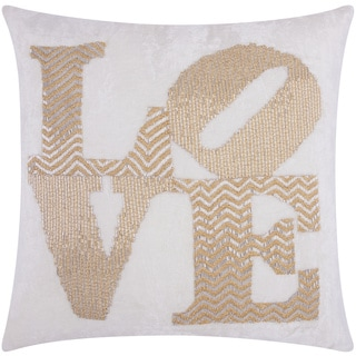 Mina Victory Luminescence Fully Beaded Love Silver/Gold Throw Pillow by Nourison (20 x 20-inch)