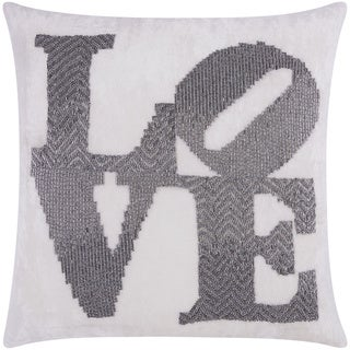 Mina Victory Luminescence Fully Beaded Love Pewter Throw Pillow by Nourison (20-Inch X 20-Inch)