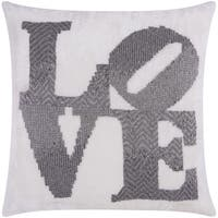 Mina Victory Luminescence Fully Beaded Love Pewter Throw Pillow by Nourison (20 x 20-inch)