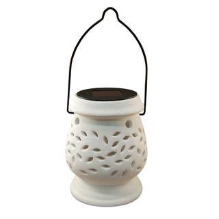 Ceramic outdoor lighting shop our best garden patio deals online white solar powered ceramic lantern aloadofball Choice Image