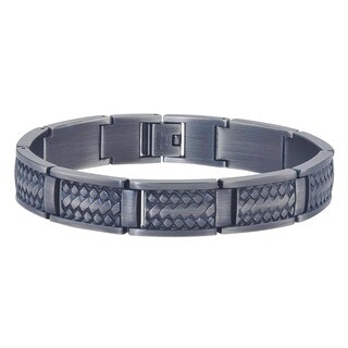 Men's Grey Stainless Steel Basket Weave Design Bracelet By Ever One