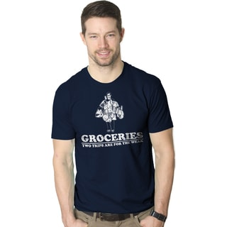 """Men's """"Groceries: Two Trips Are for the Weak"""" Funny Work-out T-shirt"""