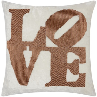 Mina Victory Luminescence Fully Beaded Love Copper Throw Pillow by Nourison (20 x 20-inch)